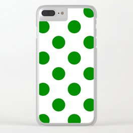 Large Polka Dots - Green on White Clear iPhone Case