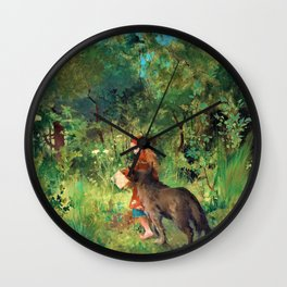 Little Red Riding Hood And The Wolf In The Forest - Carl Larsson Wall Clock