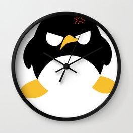 Minimalist Cute Angry Penguin Shirt Wall Clock