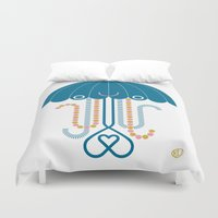 jelly fish Duvet Covers featuring Jelly the Fish by Kirsten Ulve