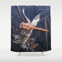 dragonfly Shower Curtains featuring Dragonfly by Bor Cvetko