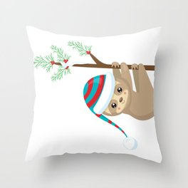 Christmas Sloth Hanging on a Pine Branch Throw Pillow