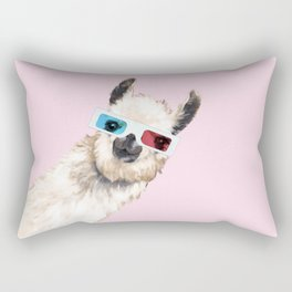 Sneaky Llama with 3D Glasses in Pink Rectangular Pillow