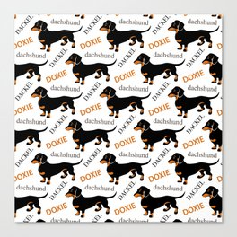 Black Tan Smooth Dachshund Canvas Print