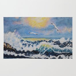 Impressionism Ocean Waves With Seagulls, Beach House Art and home decor Rug