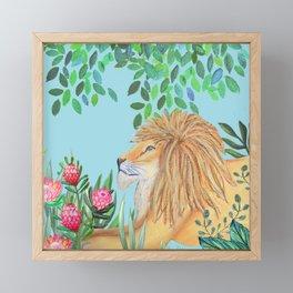 lion, jungle tropical rain forest zen botanical Framed Mini Art Print