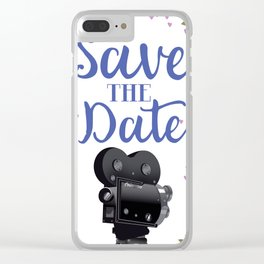 Save the Date vintage movie camera Clear iPhone Case