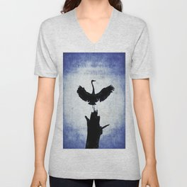 Blue Heron with Wings Spread Unisex V-Neck