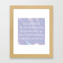 Know Your Power - Nancy Pelosi Quote Framed Art Print