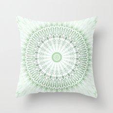 Green White Mandala Throw Pillow