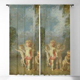 """Antoine Watteau """"Cupid Disarmed (French - L'Amour désarmé)"""" Blackout Curtain"""