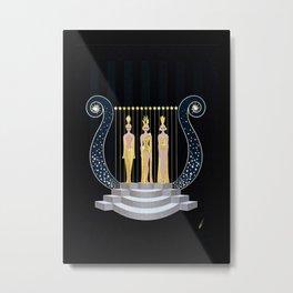 "Art Deco 1920's Illustration ""Lyre"" Metal Print"
