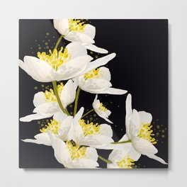 White Flowers On A Black Background #decor #buyart #society6 Metal Print