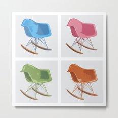 Mid-century Rocker Chairs Metal Print