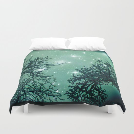 Aqua Skies N Stars Through The Trees Duvet Cover