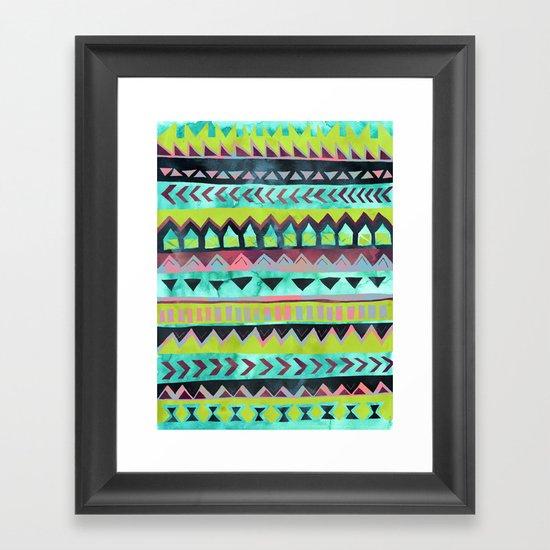 PATTERN {Tribal Stripe - Green} Framed Art Print