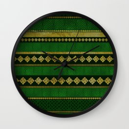 Celtic Knot Decorative Gold and Green pattern Wall Clock