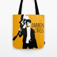 darren criss Tote Bags featuring Darren Criss with guitar! by byebyesally