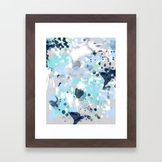Silva - abstract painting large canvas art print for modern decor cool blue relaxing design urban Framed Art Print
