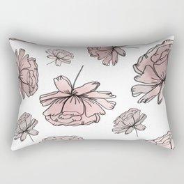 Hand Drawn Peonies Dusty Rose Rectangular Pillow