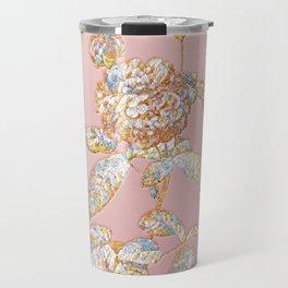 Prismatic Agatha Rose in Bloom Botanical Mosaic - Gold on Pink Travel Mug