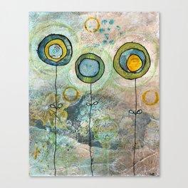 1 blue, 2 moss flowers Canvas Print