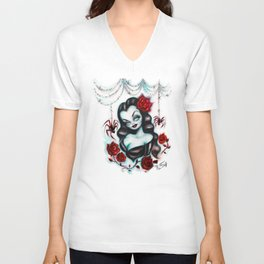 Vampire Vixen with Roses Unisex V-Neck