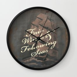 Fair Winds & Following Seas Wall Clock