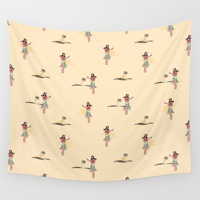 Tropical Vibes - Hula Dancer Sand Wall Tapestry