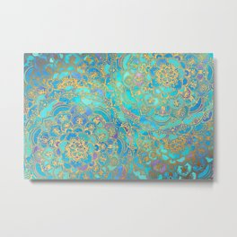 Sapphire & Jade Stained Glass Mandalas Metal Print