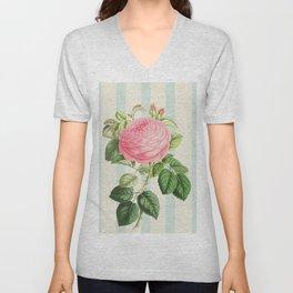 Pink Rose On Blue Stripes Unisex V-Neck