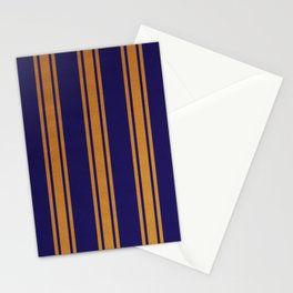 Gold lined on blue background Stationery Cards