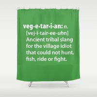 vegetarian Shower Curtains featuring Vegetarian definition dictionairy by Laundry Factory
