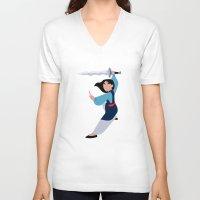 mulan V-neck T-shirts featuring MULAN by Danielle Ebro