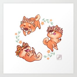 Flower Doges Art Print