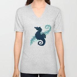 """Seahorse Silhouette"" ` digital illustration by Amber Marine, (Copyright 2015) Unisex V-Neck"