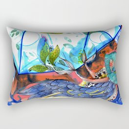 Mermaid blue and red Rectangular Pillow