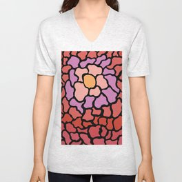 abstract shades of red and pink Unisex V-Neck