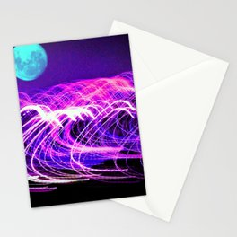 blue moon over an electric ocean Stationery Cards