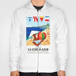 1957 French Riviera Train Travel Poster Hoody