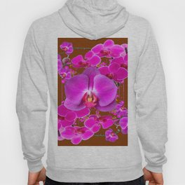 Coffee Brown Color Abstracted Modern Purple Moth Orchids Hoody