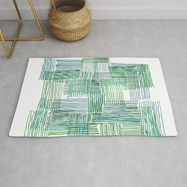 Green and Blue Parallel and Perpendicular Pencil Lines Rug