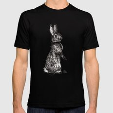 Pink Woodland Creatures - Bunny MEDIUM Mens Fitted Tee Black