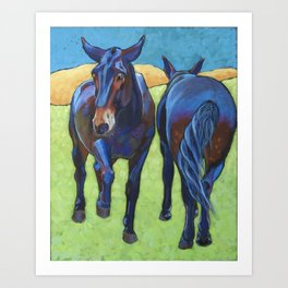 Mules Head to Tail Art Print
