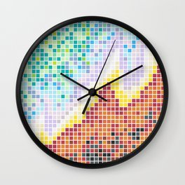 Pixelated Nebula Red Wall Clock