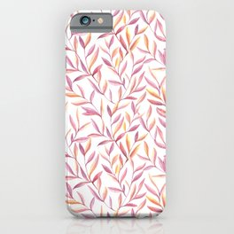 Lavender And Amber Leaves Pattern iPhone Case