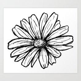 Daisy Floral Modern Line Art Art Print