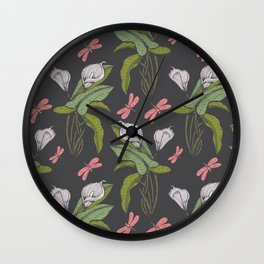 Hand drawn floral dark  - 03 Wall Clock