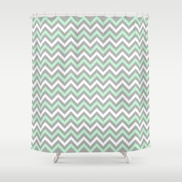 Chevron - mint and grey Shower Curtain