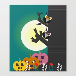 Owls in the moonlight Canvas Print